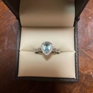 Aquamarine and Cubic Zirconia Ring